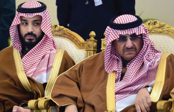 Deputy Crown Prince Mohammad  bin Salman (left) is responsible for bombing Yemen; his cousin Crown Prince Mohammad bin Nayef (right) is in charge of executions.