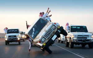 Getting high on their own supply – Saudi youths engage in a popular stunt of 'sidewall skiing'. Oil exports are down while domestic consumption keeps rising.