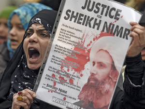 There were protests around the world at the execution of Shi'a preacher Nimr al-Nimr early this year.Photo: Toby Melville/ Reuters