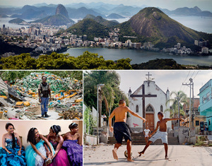 Clockwise from top: The iconic view of Rio and the Lagoa da Zona Sul; the beautiful game outside a church in Providencia, Rio's oldest favela; 15-year-old belles from the Cerro-Korah favela attending a debutante ball organized as a good-will gesture by the Pacifying Police Unit; Zumbi da Silva, a former rubbish-picker in Esqueleto who now works in a new recycling co-operative.Photos by Lianne Milton / Panos Pictures.