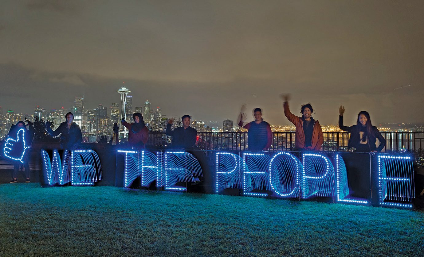 Seattle, home of the 1999 WTO protests, campaigning for internet freedom in 2015.