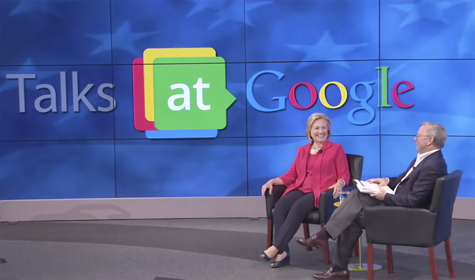 Former US Secretary of State Hillary Clinton, now running for the 2016 Democratic Party presidential nomination, stopped by the Googleplex for a 'fireside chat' with Eric Schmidt, July 2014.