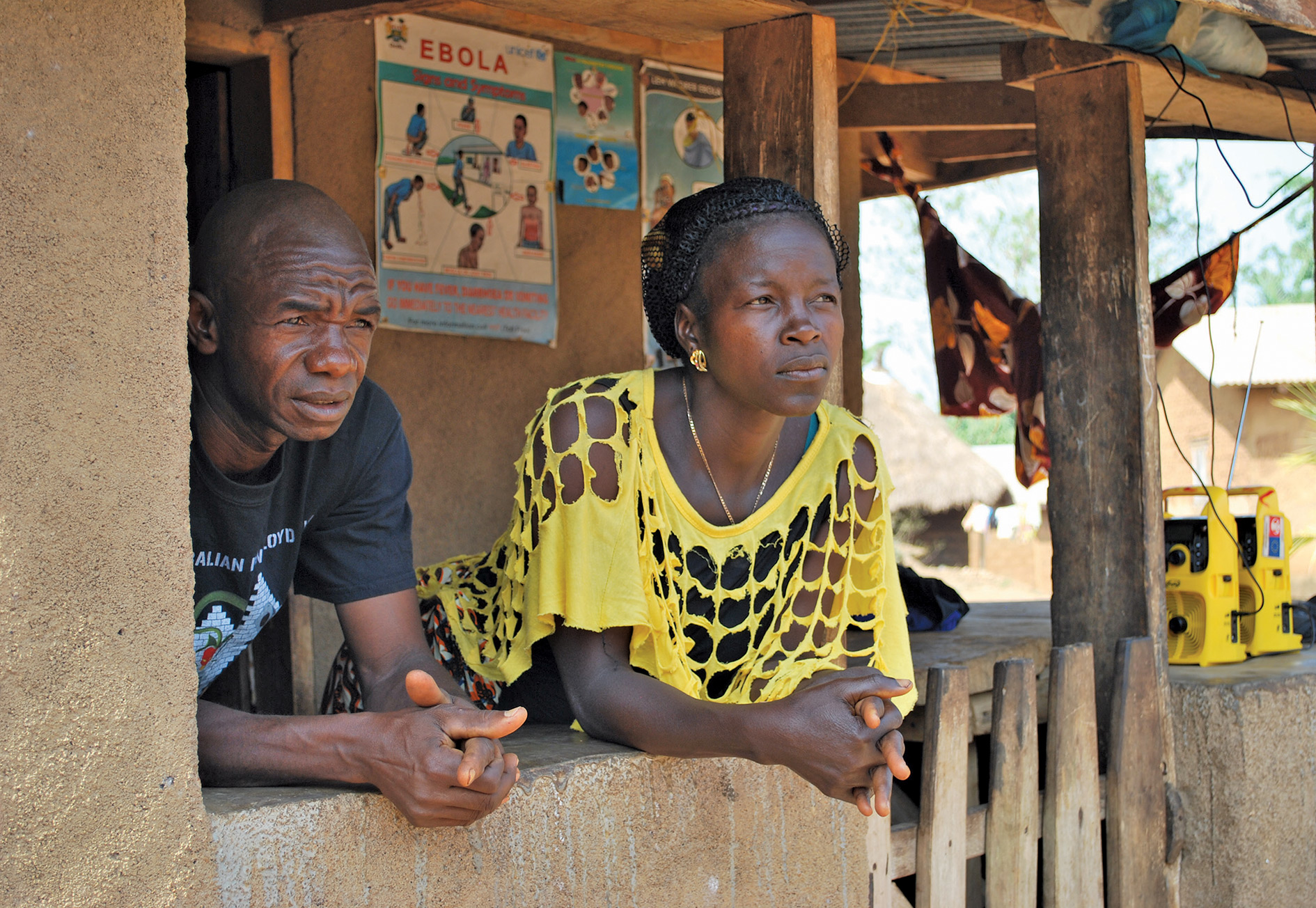 Tamba and Mamie Lebbi on the porch of their home in Sokoma village.