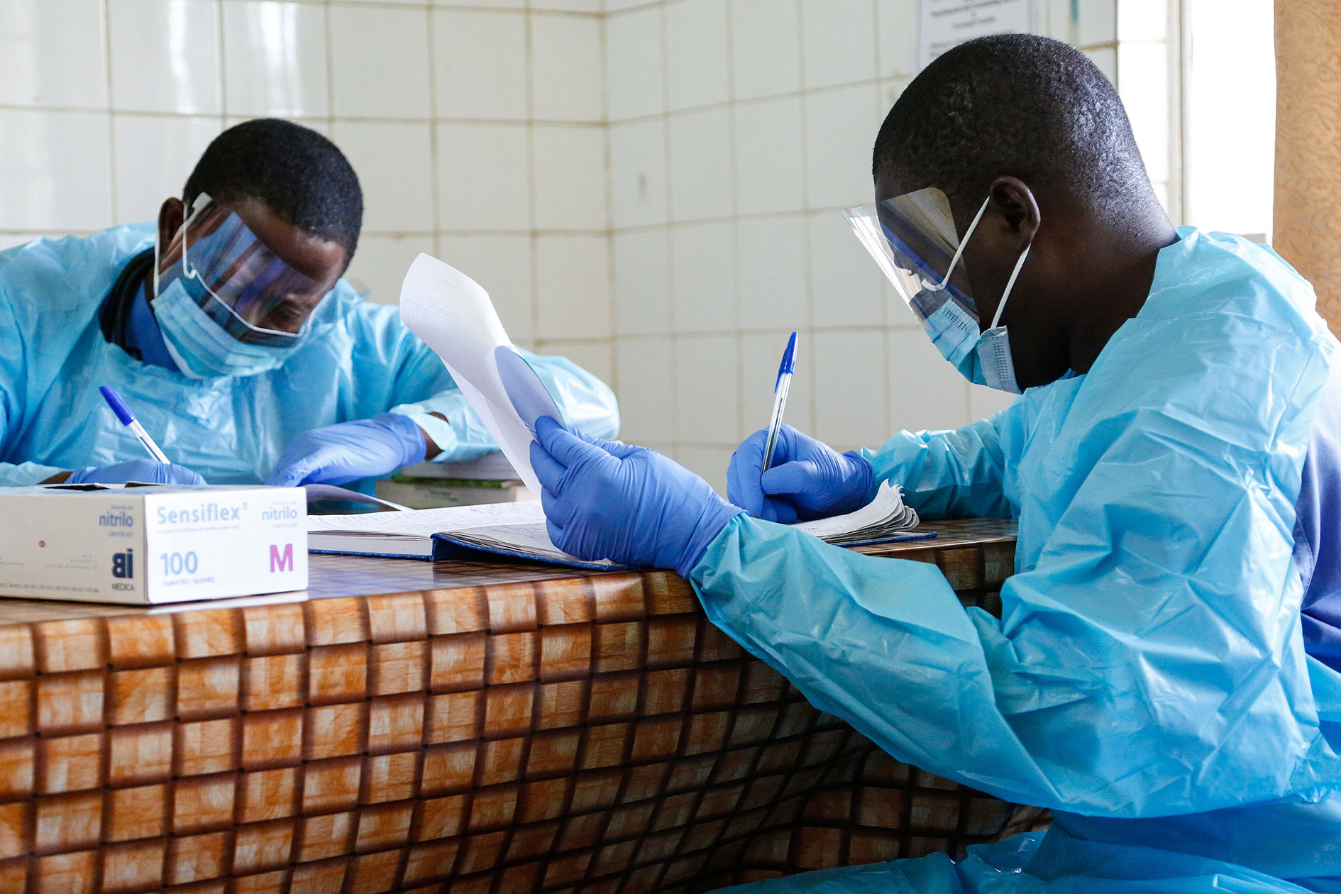 Doctors working at Connaught Hospital, Freetown, Sierra Leone. This hospital was on the frontline of the Ebola epidemic when it hit in Freetown.