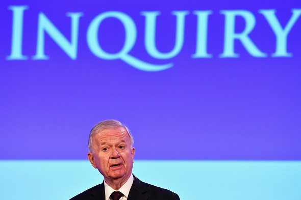 Sir John Chilcot presents The Iraq Inquiry Report at the Queen Elizabeth II Centre in Westminster, London, Britain 6 July 2016.