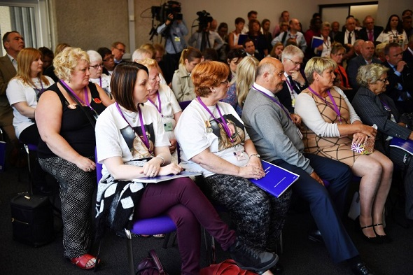 Relatives and friends of military personnel killed during the Iraq War attend a news conference after listening to Sir John Chilcot present The Iraq Inquiry Report at the Queen Elizabeth II Centre in Westminster, in London, Britain 6 July 2016.