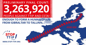 More than three million Europeans have sign a petition to stop the TTIP.Photo: Stop TTIP