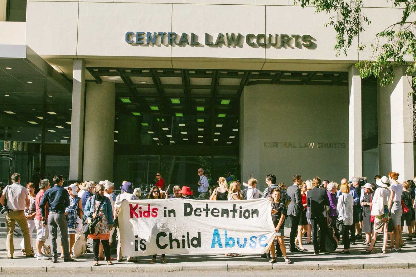 Christian leaders faced court in Perth, 28 January 2015, following a peaceful sit-in at the office of the Foreign Minister. They called for the release of 135 children then locked-up on Nauru and an end to detention.
