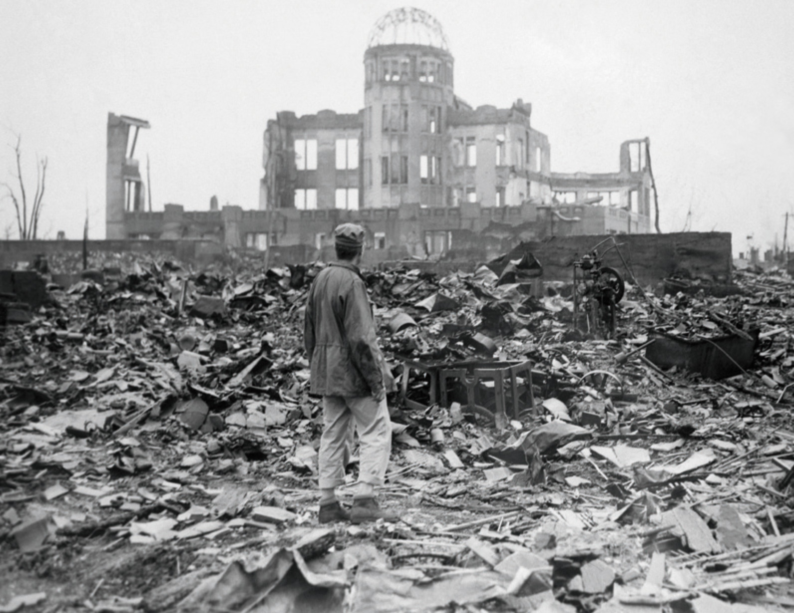 Hiroshima city centre: the ruined Museum of Science and Technology was the only building left standing.