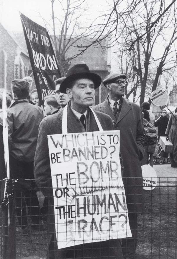 True Brit: a protester joins the crowds in London for the first march to Aldermaston in 1958.