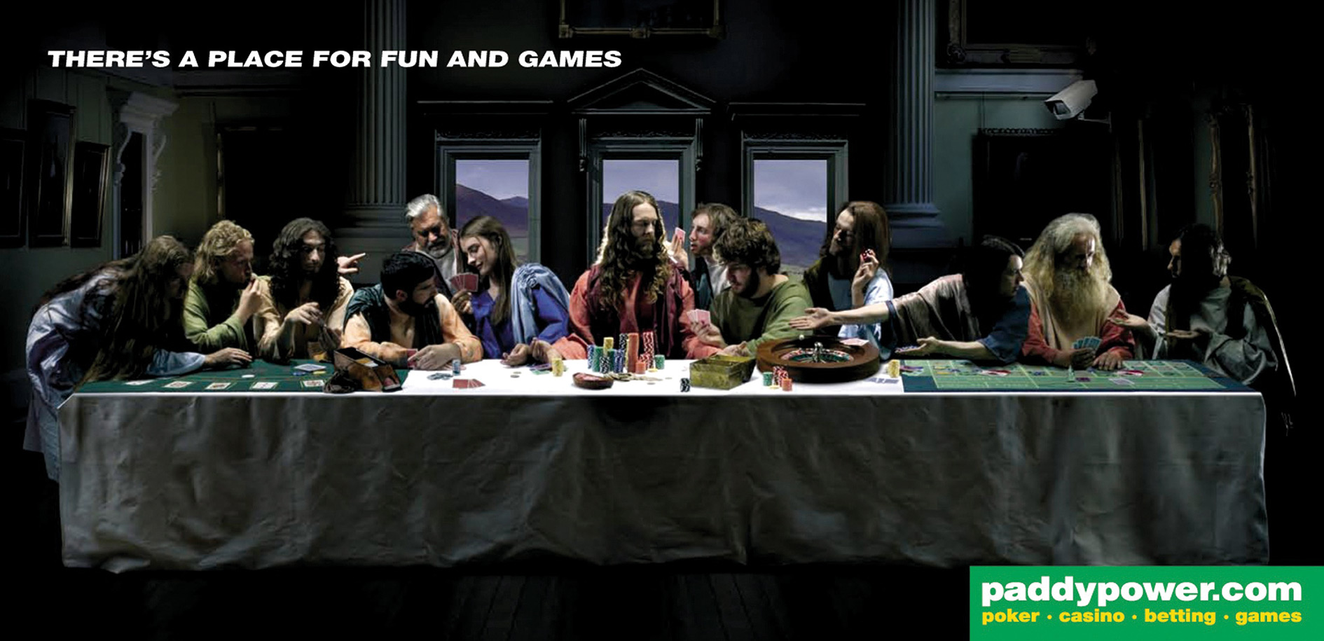 The last gamble: this poster, playing on Leonardo da Vinci's Last Supper, caused outrage in Catholic Ireland, where bookmaker Paddy Power is based.