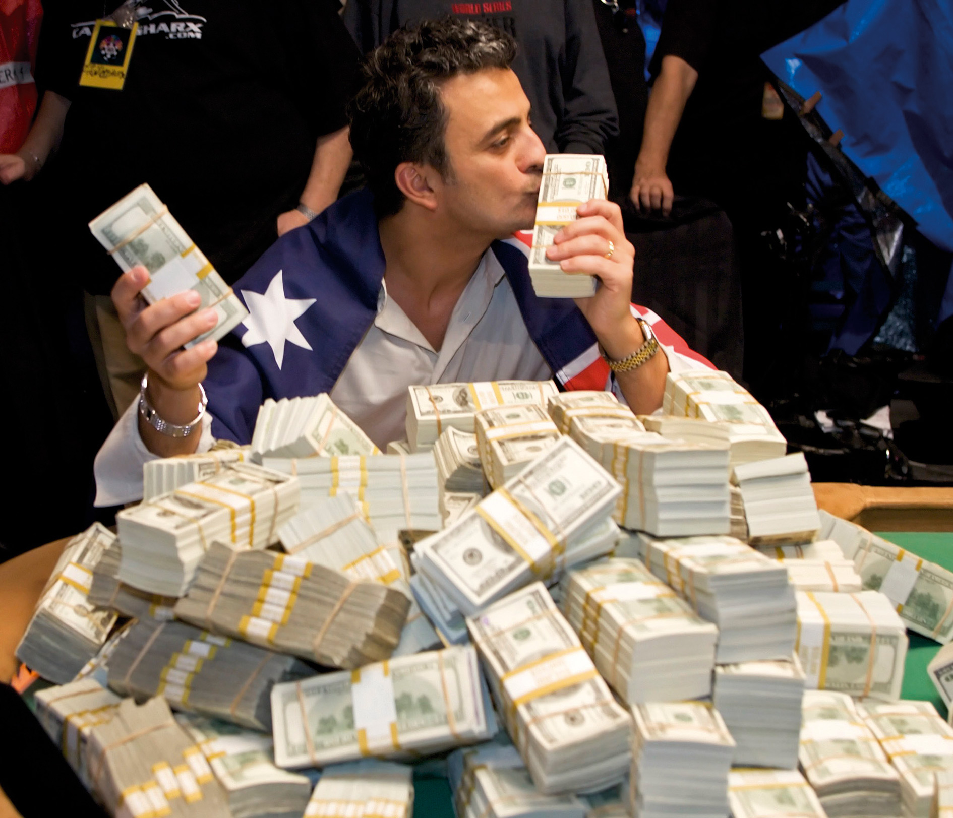 Worldbeater: Joseph Hackem celebrates winning $7.5 million at the World Series Poker Championship in 2005.