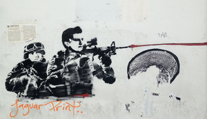 Street art in Oaxaca city centre showing President Peña Nieto shooting a high-calibre weapon.