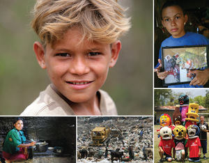 Clockwise from top left: Portrait of a boy from San Nicolas, to the west of Santa Barbara; an orphan from San Pedro Sula, holding photos of his parents; young footballers, also from San Pedro Sula, representing various health threats; children and cows picking through a rubbish dump in the capital, Tegucigalpa; and the cook is Elvira Garcia, from the indigenous Maya Chorti community in Copan province, bordering Guatemala.Photos by Giacomo Pirozzi / Panos Pictures.