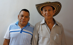 Irrael Aguilar (left) is one of the indigenous Zenú leaders who lives under severe threats for his involvement in environmental struggles. He is accompanied by fellow leader Juan Urango.Daniel Macmillen Voskoboynik