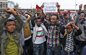 Demonstrators protest against state brutality at a rally in Ethiopia's capital Addis Ababa last August.Photo: Tiksa Negeri/Reuters