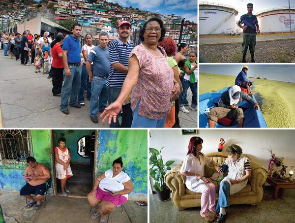 Clockwise from top left: A queue at a food market in Caracas where prices are subsidized and regulated by the government; an armed guard in front of storage tanks at the world's largest oil refinery in Punto Fijo; a fishing boat steers through the Anacystis algal blooms on Lake Maracaibo; a Cuban doctor measuring blood pressure in Caracas – one of thousands of Cubans employed out of oil revenues to improve healthcare for the poor; a family reads while awaiting relocation from a house in Ciudad Ojeda damaged by subsidence following oil exploration.