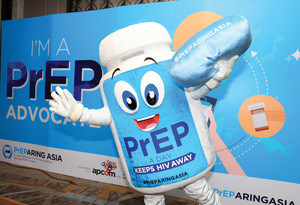 Health rights advocacy group APCOM's PrEP mascot hits the campaign trail in Bangkok.Photo: APCOM Thailand
