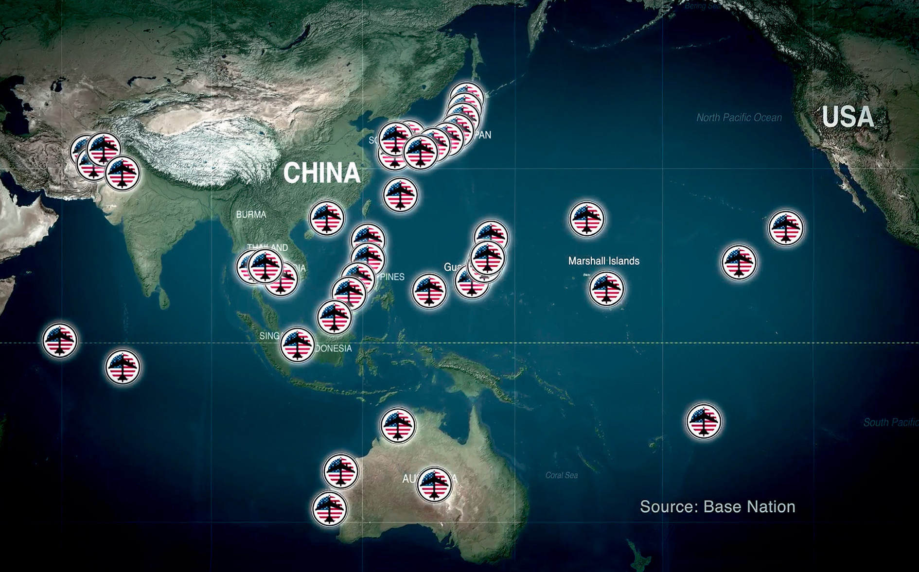 Today, more than 400 American military bases encircle China with missiles, bombers, warships and nuclear weapons.