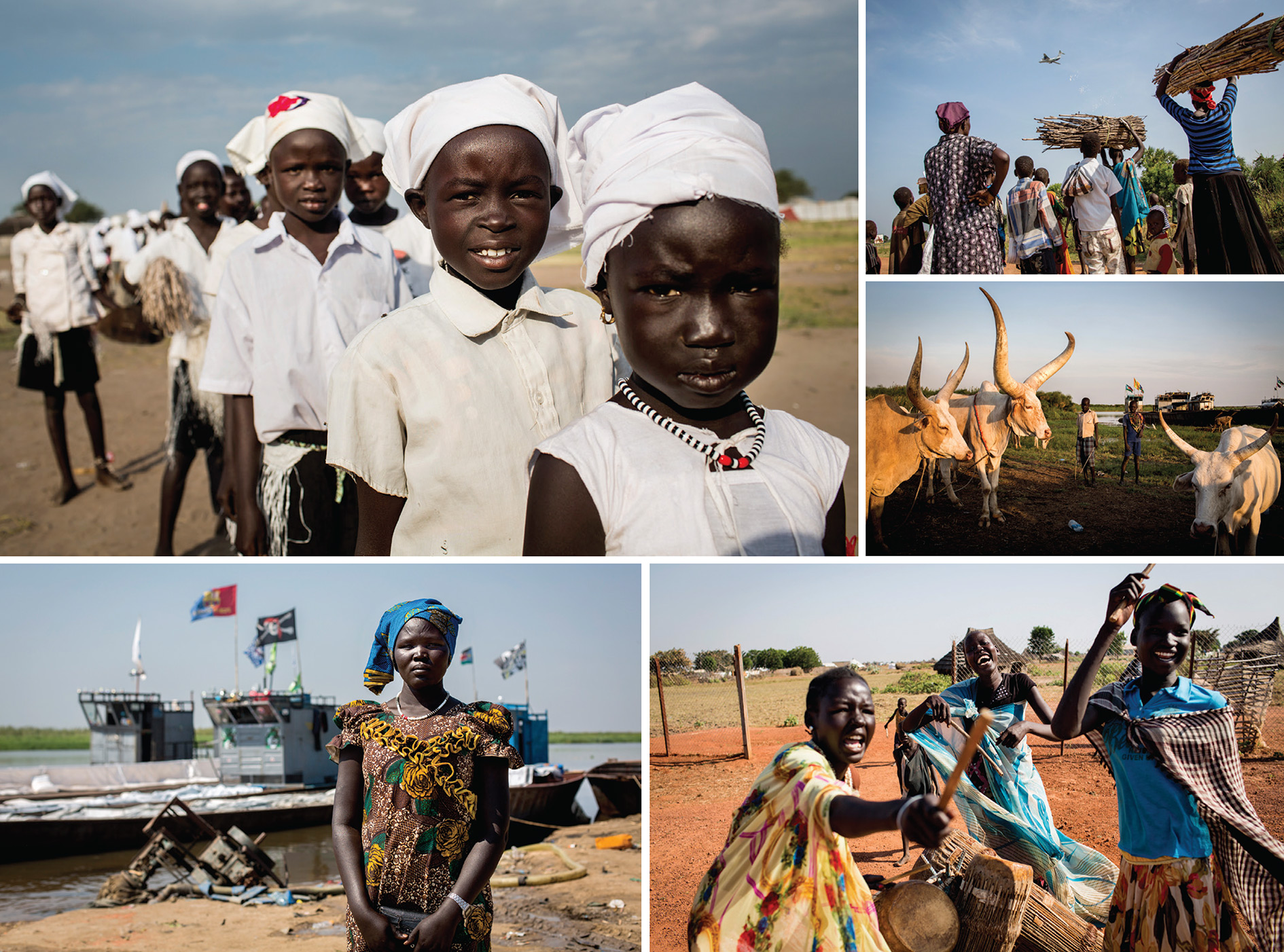 Clockwise from top left: A song-and-dance group prepare to perform at a church in the Mingkaman camp for internally displaced people (IdPs), which has often held as many as 100,000 people during the conflicts of the past few years; villagers in Unity State in the north watch a plane drop sacks of food aid; the boys looking after African-longhorned cattle are also from the Mingkaman camp, in Lakes State; the dinka women drumming have just had a training session aimed at making them aware that gender-based violence is a crime; Amer Agoot is pictured at the river port of Bor, having been forced to flee an IdP camp when men invaded her hut and robbed her of the little she had left.