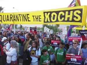 A clear message from anti-Koch protesters in California.