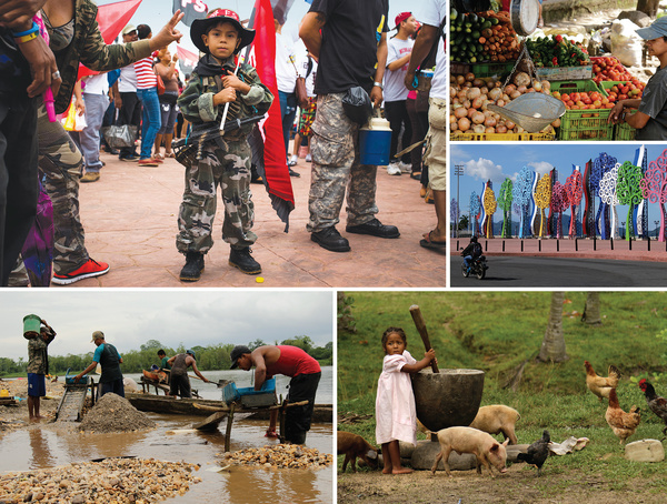 Clockwise from top left: FSLN supporters celebrate the 37th anniversary of the Sandinista revolution on 19 July 2016; fruits and vegetables grow well in Nicaragua's tropical climate; despite harsh criticism, Rosario Murillo's 'trees of life' (see main story) have multiplied over the past three years; separating rice grains from chaff is often children's job in indigenous communities; Miskito people use artisanal methods to extract gold from rivers and mountains on the Caribbean coast.