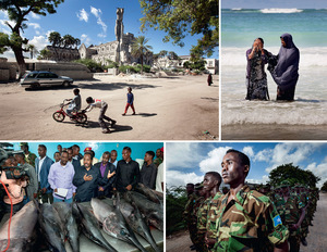 Clockwise from top left: Children play in the street outside the ruined Italian Cathedral in Mogadishu; two young women paddle in the Indian Ocean for only the second time in their lives; new recruits training for the National Army of Somalia in the Ministry of Defence compound; President Hassan talks to the press over a bench loaded with swordfish at the opening of a new fish-processing factory.