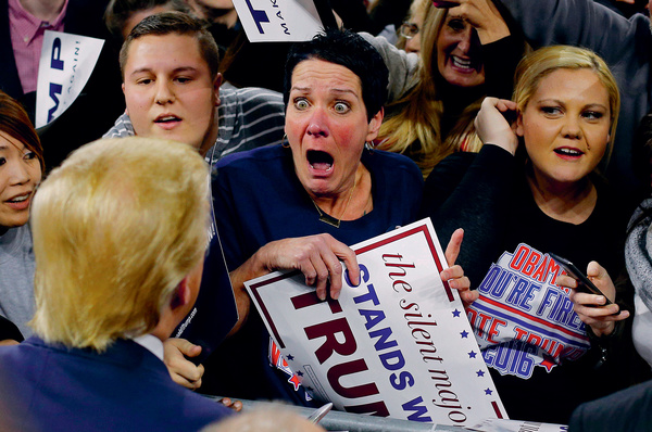 Paroxysm: Robin Roy, a fervent Donald Trump supporter, eyeballs her idol. 