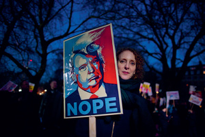 International solidarity: Donald Trump's inauguration on 20 January saw protests across the world – even in Antarctica. This image comes from a demonstration outside the US embassy in London.