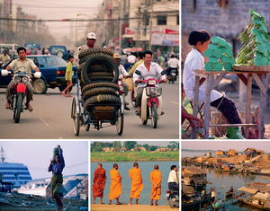 Clockwise from top left: A cycle rickshaw loaded with tyres negotiates traffic in the capital, Phnom Penh; selling lotus flowers, the seeds of which are edible, at the roadside; a typical village on stilts at the edge of the Tonle Sap river; monks and sightseers, also beside the Tonle Sap river; and carrying water in a slum settlement on the outskirts of the capital, with a floating casino on the Mekong river behind.