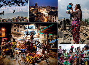 Clockwise from top left: A bird flies over Nepal's capital, Kathmandu, with the snow-capped Himalayas in the background; stars emerge over Taumadhi Square in Bhaktapur, one of the three historic city states, which is now in the process of being absorbed into Greater Kathmandu; Rajina Tamang lifts her five-month-old baby girl Devi Yani into the air amid the rubble – all that remains of Kuni village in Dhading District following the April 2015 earthquake, which left more than a thousand villagers homeless; Kuni's villagers queue to be seen by a Médecins Sans Frontières medical team; back in the capital, the Annapurna temple stands behind a fruit vendor in Ason Tol.