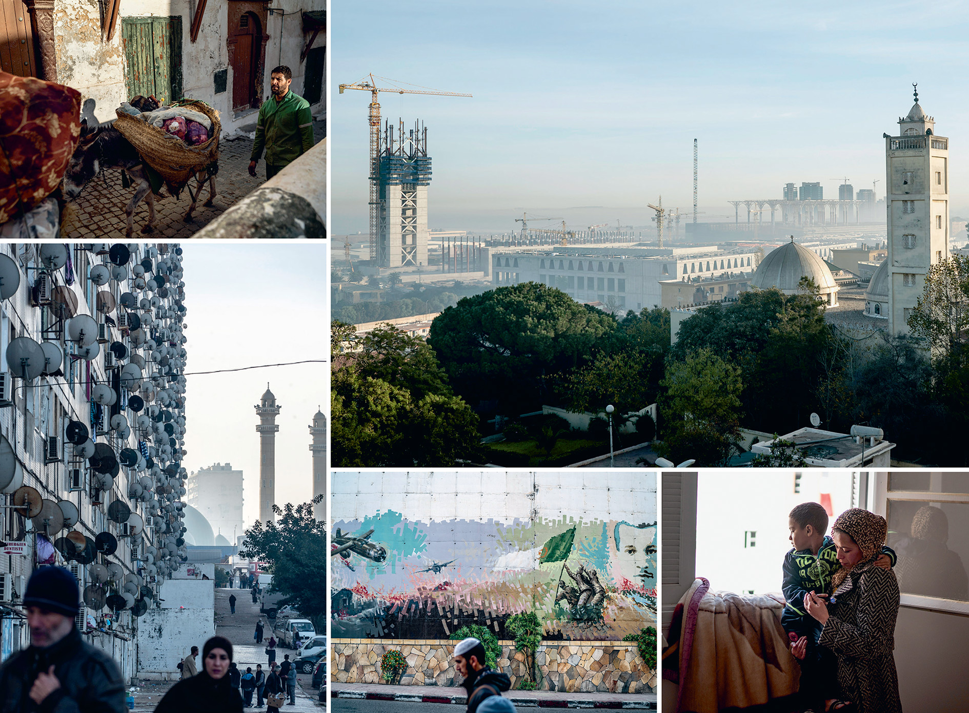 Clockwise from top right: The Great Mosque of Algiers, which will contain the world's tallest minaret, is being constructed in Mohammedia, near the capital, while an older mosque looks on; Nabila Ounas and her son in their new, government-supplied apartment in Cite Kourifa, 20 miles from Algiers; a man walks past a mural commemorating the war of independence against France;  satellite dishes cling to the external wall of a tenement building called 'Les Dunes', said to be the longest building in Algiers; donkeys transport rubbish from the casbah in Algiers through the narrow streets.