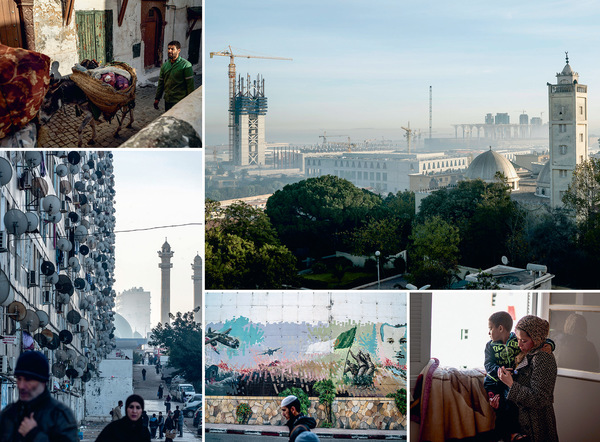Clockwise from top right: The Great Mosque of Algiers, which will contain the world's tallest minaret, is being constructed in Mohammedia, near the capital, while an older mosque looks on; Nabila Ounas and her son in their new, government-supplied apartment in Cite Kourifa, 20 miles from Algiers; a man walks past a mural commemorating the war of independence against France;  satellite dishes cling to the external wall of a tenement building called 'Les Dunes', said to be the longest building in Algiers; donkeys transport rubbish from the casbah in Algiers through the narrow streets. Photos by Andrew Testa / Panos Pictures