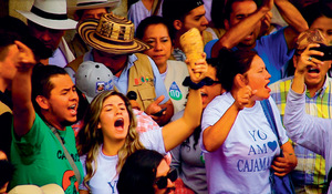 Cajamarca celebrates a landslide victory after a popular vote against La Colosa mine.Photo: Felipe Cortes