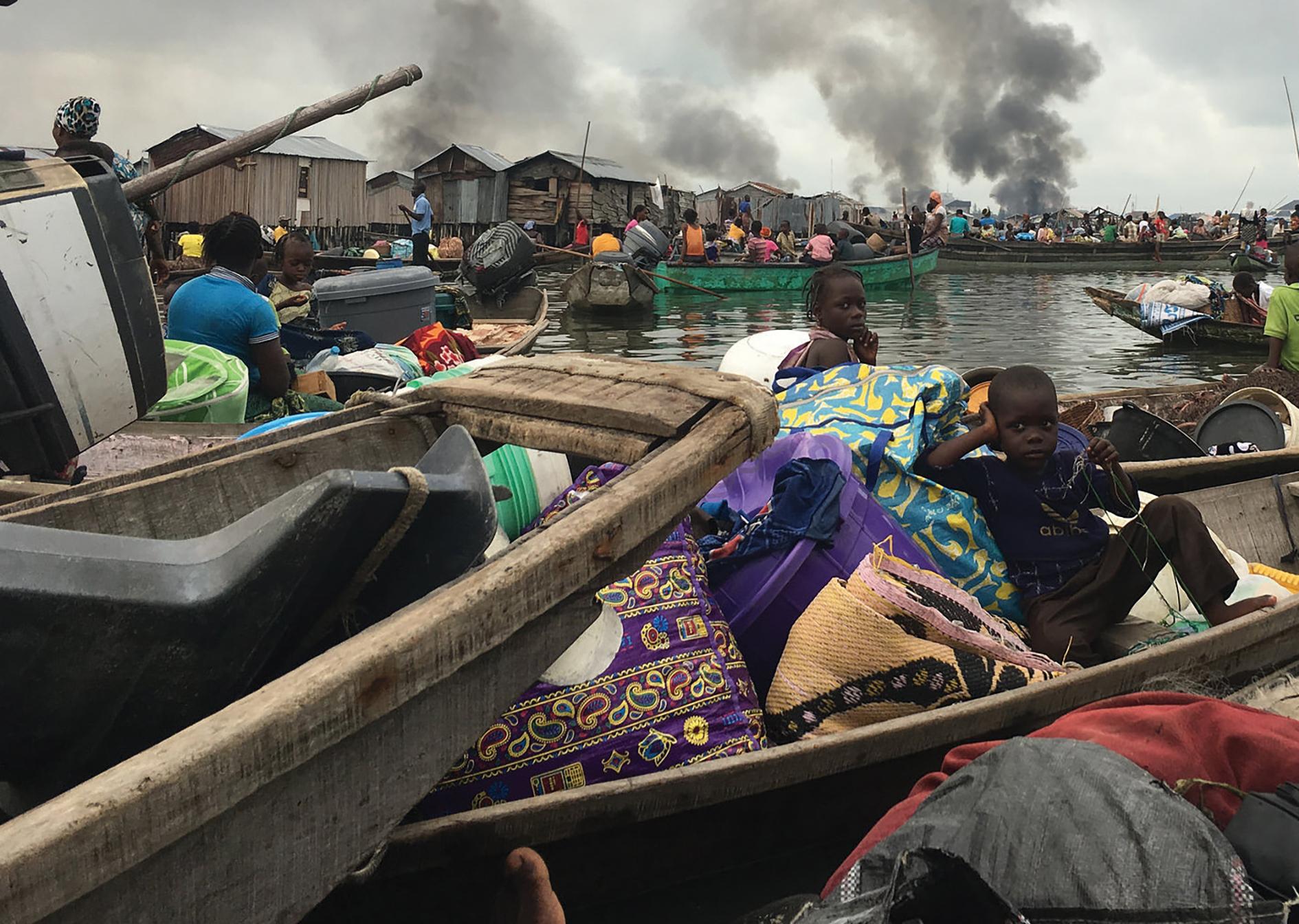 Otodo Gbame evictees forced to seek watery refuge on Lagos Lagoon.