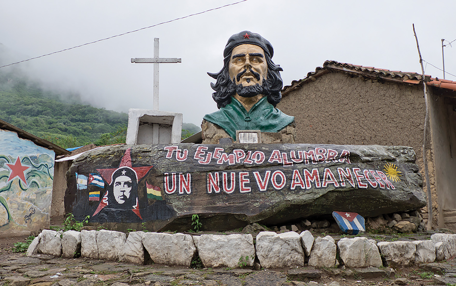 'Your example lights the way for a new dawn,' reads this monument in La Higuera.