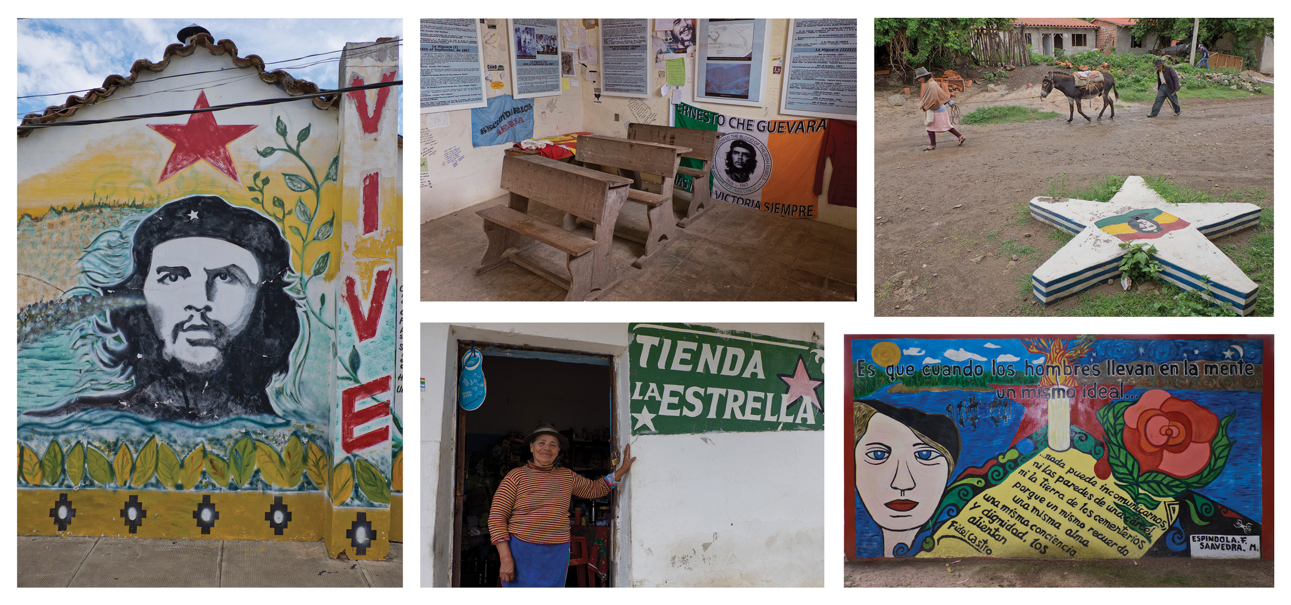 From top left: Mural dedicated to Che Guevara in Vallegrande, where his body was taken and displayed to the international press. This is now part of the Che Route, sponsored by the Bolivian government and foreign solidarity groups; The school in La Higuera where Che was killed after being taken prisoner 50 years ago; The 20 or so families living in La Higuera survive on subsistence farming and Che tourism; Julia Cortez, who worked as a schoolteacher in La Higuera in 1967 and fed Che, now runs a grocery shop and restaurant in the village; Mural by the grave of fellow guerilla Tania, who was captured and executed, in Vallegrande.