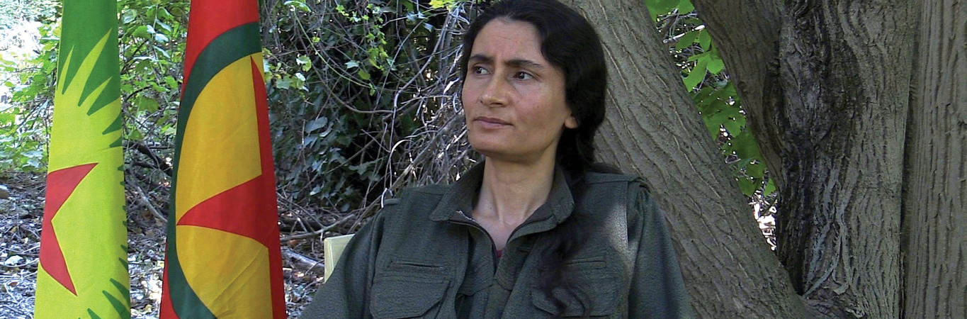 A portrait of Kurdistan Communities Union (KCK) female leader Bese Hozat.
