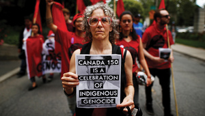 Indigenous rights activists after the 'Unsettle Canada Day 150 Picnic' in Toronto, Ontario.  Photo: Mark Blinch / Reuters