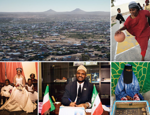Clockwise from top left: Hargeisa, the capital of Somaliland; a young woman plays basketball at Socsa (Somaliland Culture and Sports Association); a woman selling gold from a stall in Hargeisa market sits behind a display case; Ahmed Yusuf Yasin the former vice-president of Somaliland; and a bride before her wedding sitting with her bridesmaids.