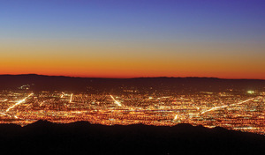 All that glistens: Silicon Valley lights up as night descends.