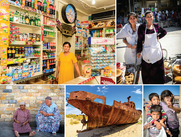 Clockwise from top left: A typical neighbourhood corner shop in Uzbekistan; Tajik bakers selling bread at Siab Bazaar – the main market in Samarkand; friendly smiles from children; the ship graveyard on the former shore of the Aral Sea in Moynak; and two women sheltering from the heat.