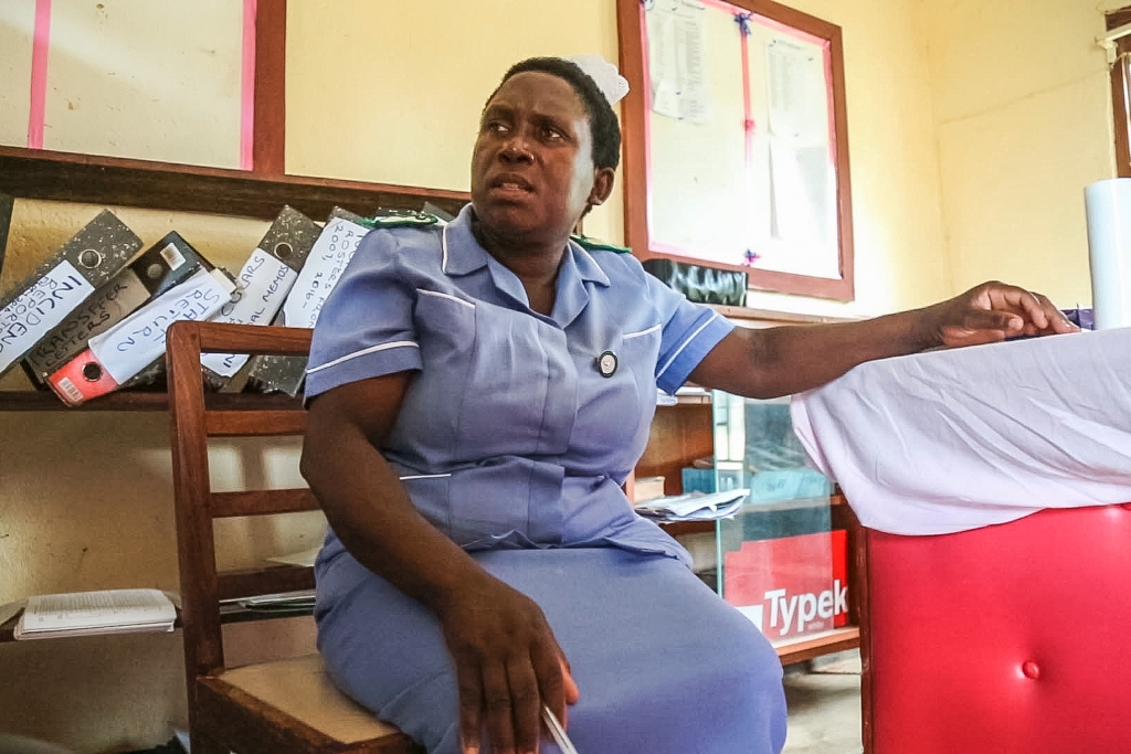 Matron Judith Phirie barely has time all day to sit down, in her long shift shared with only one other nurse in Chintheche Rural Hospital.
