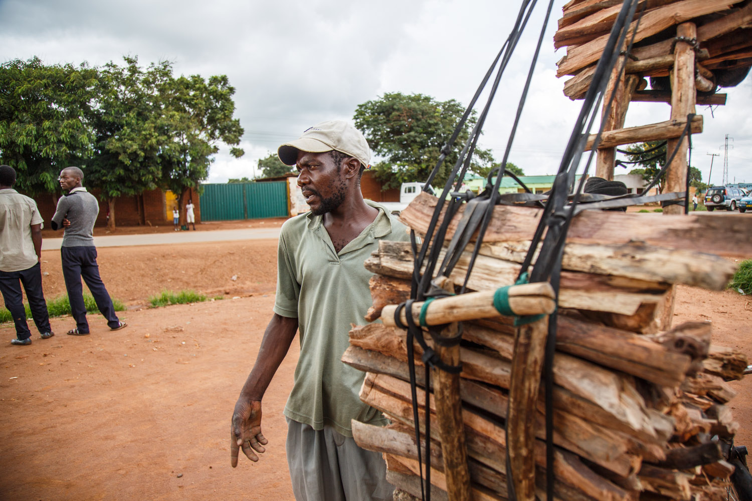 Road-side sale of firewood. Malawi loses nearly 520 square kilometres of its forests annually due to illegal logging.