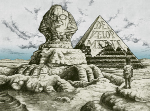 Polyp's original illustration for Sachs' 1992 series of essays called 'Development: a Guide to the Ruins'. The face on the Sphinx is that of Harry Truman, the US President who coined the idea of  'underdevelopment' in a 1949 speech. He saw greater production as 'the key to prosperity and peace' and the US as 'pre-eminent among nations'.