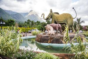 A statue of Africa's 'Big Five' towers in front of the 'Hapuwani Village Lodge', a luxurious resort in Mulanje, in the south of Malawi.
