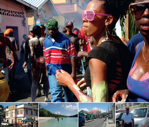 (top) Carnival revellers celebrate, St Georges; (bottom left to right) a historic waterfront building, St Georges; Paradise Beach, Carriacou; Carriacou's capital, Hillsborough; a local police officer.