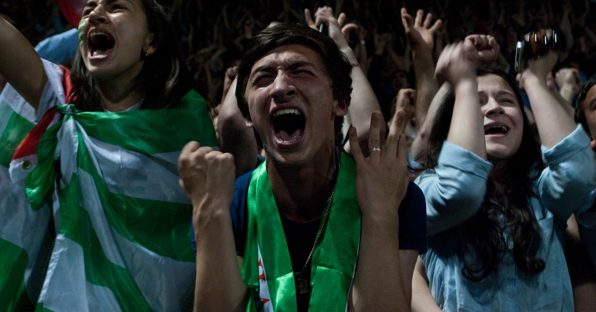 CONIFA World cup of unrecognized nations and linguistic minorities. An Abkhazian football fan cheers at the 2016 tournament.