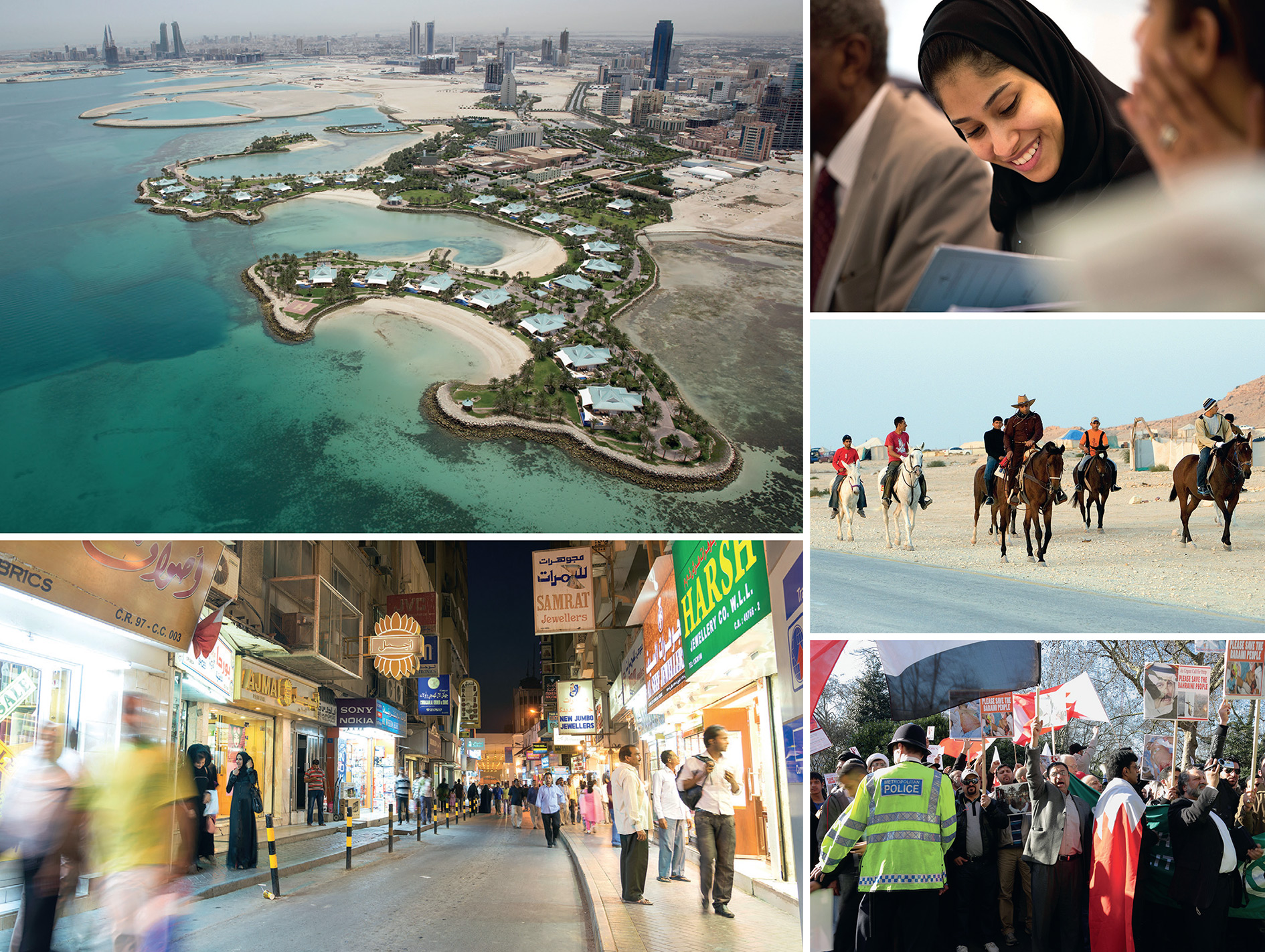 Clockwise from top left: Aerial photograph of the luxury Ritz Carlton resort near Manama, with the skyline of the capital in the distance; a Bahraini law student – there are more opportunities for women than in neighbouring Saudi Arabia; locals horse riding in the desert; a demonstration by Bahrainis in London demanding democratic rights in their country; the modern souk in Manama.