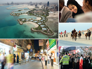 Clockwise from top left: Aerial photograph of the luxury Ritz Carlton resort near Manama, with the skyline of the capital in the distance; a Bahraini law student – there are more opportunities for women than in neighbouring Saudi Arabia; locals horse riding in the desert; a demonstration by Bahrainis in London demanding democratic rights in their country; the modern souk in Manama.All photos from Alamy; photographers from top left: Ben Nicholson, Michael Austen, Giuseppe Masci, Peter Wheeler, Jack Malipan.